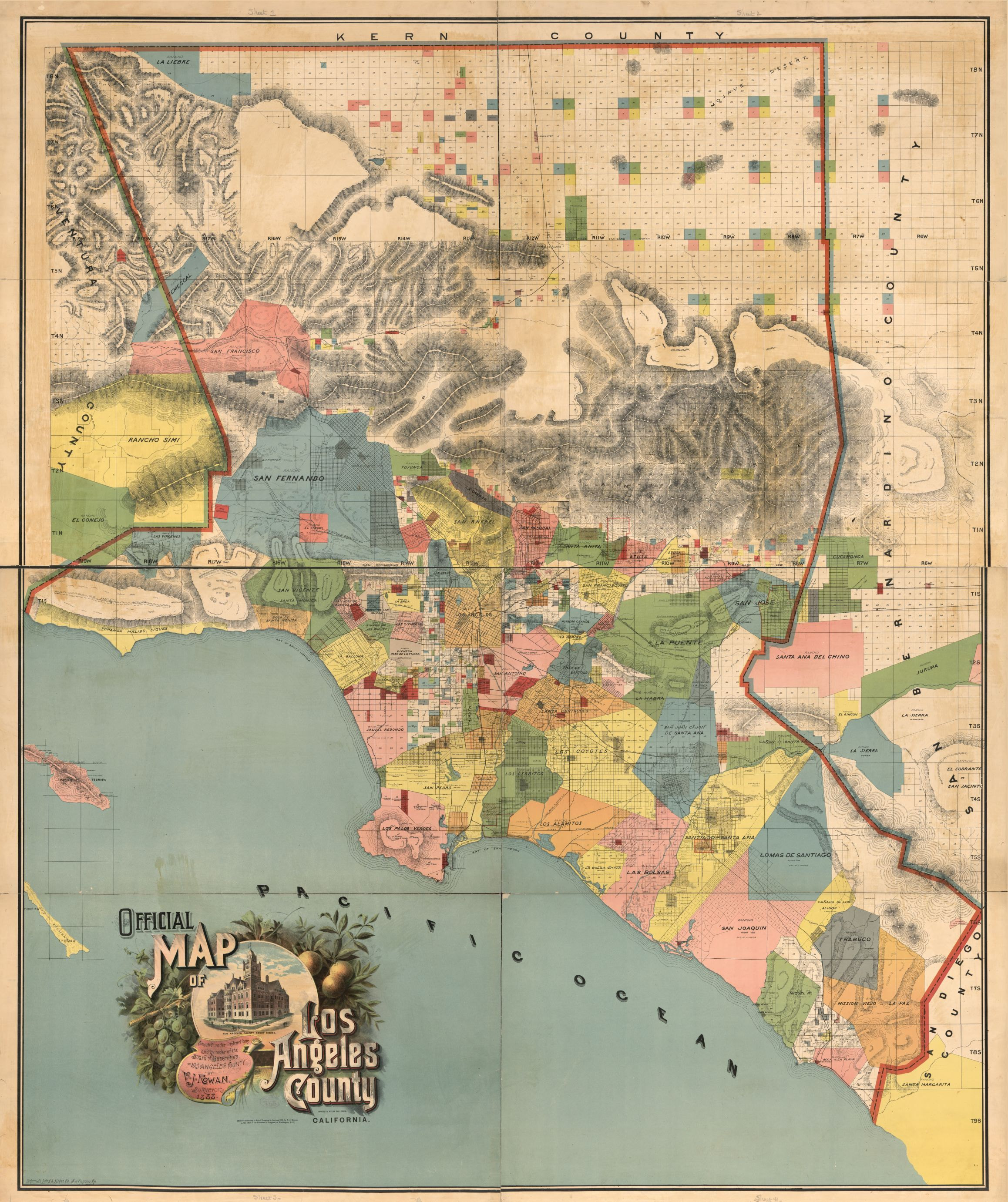 Official Map Of Los Angeles County 1888 Los Angeles Map California Map Colorful Map
