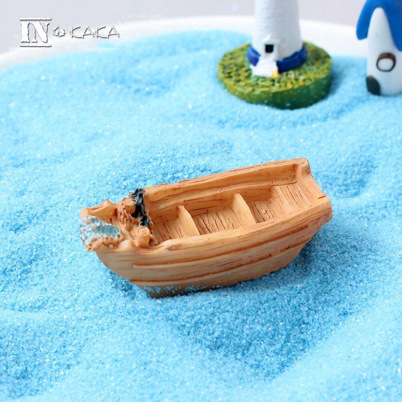 Micro Beach Landscape Fairy Garden Decoration Mini Boat Miniature Terrarium Succulent Figures Toys DIY