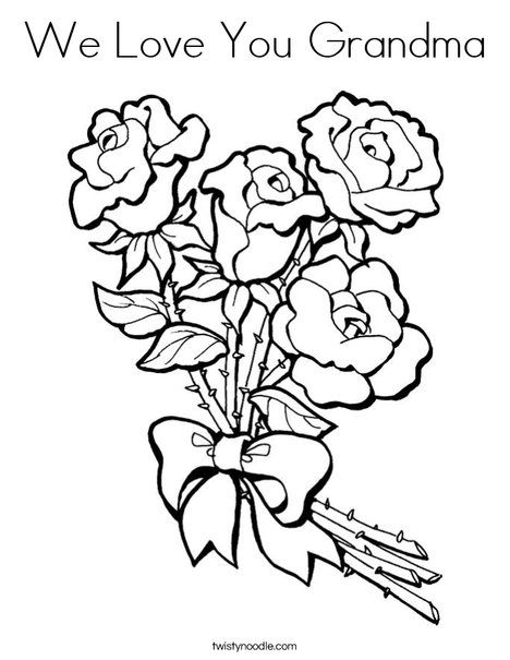 We Love You Grandma Coloring Page Valentine Coloring Pages Rose Coloring Pages Flower Coloring Pages