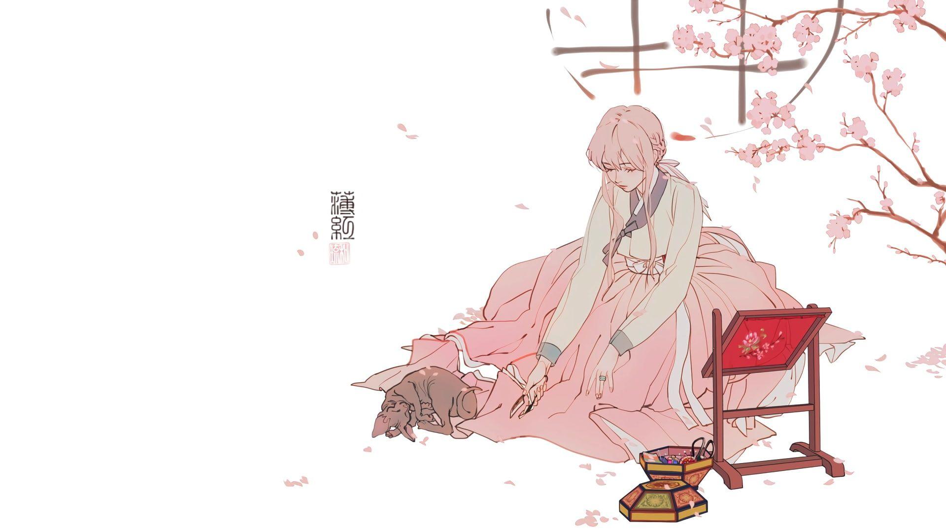 Anime Manga Anime Girls Simple Background Minimalism Pink Korean 1080p Wallpaper Hdwallpaper D Background Drawing Pink Wallpaper Pc Wallpaper Pc Anime