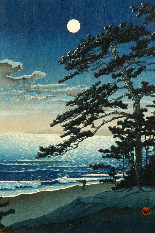 Japanese Woodblock Print, Spring Moon at Ninomiya Beach