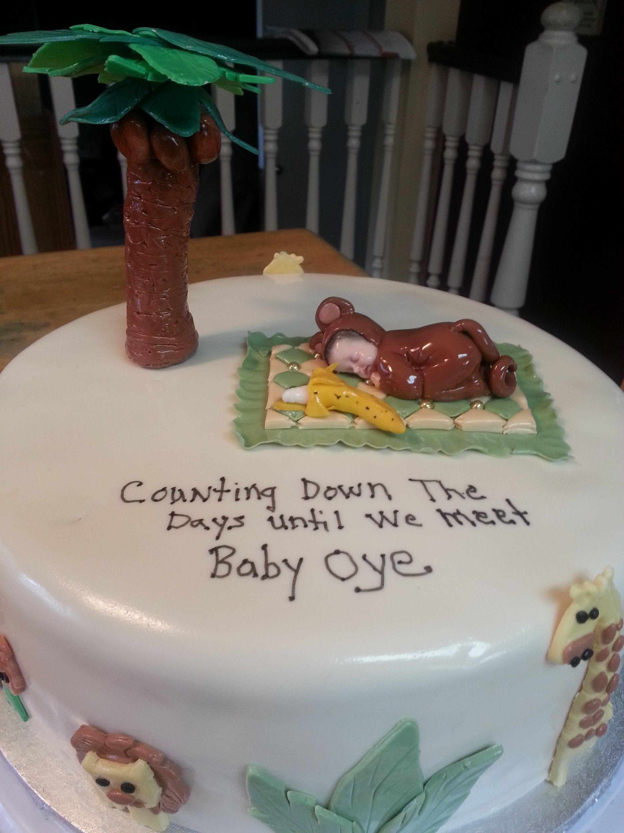 Monkey themed baby shower cake.