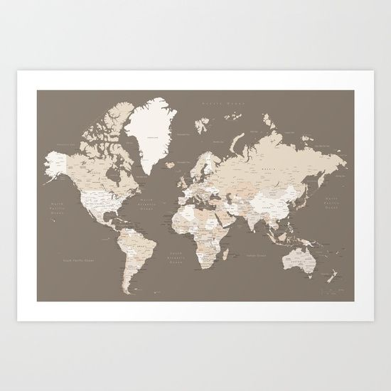 World map with cities earth tones sizes large xl only art world map with cities earth tones sizes large xl gumiabroncs Image collections