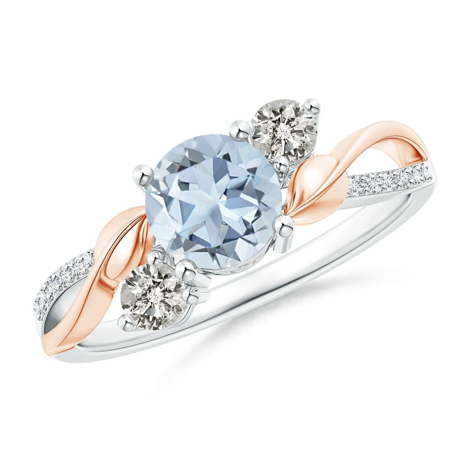 Aquamarine and Diamond Twisted Vine Ring in 14K White and Rose Gold (6mm Aquamarine) -- Check out this great article. #Rings