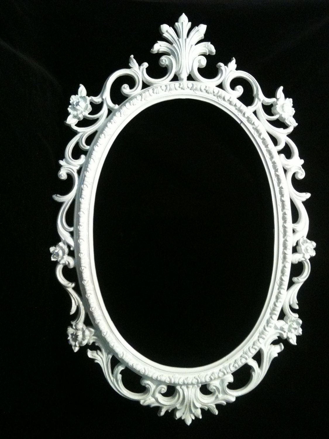 Gloss White Oval Picture Frame Mirror Shabby Chic Baroque Gothic ...