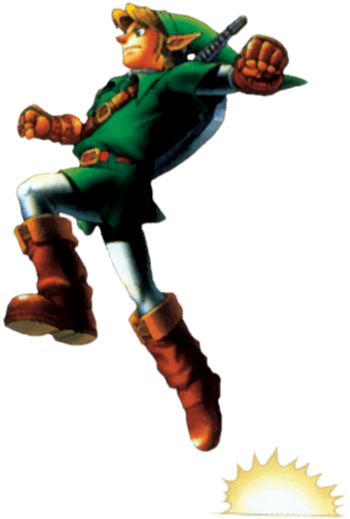 #Link jumping from the #TLOZ Ocarina of Time official art set. http://zelda-temple.net/the-legend-of-zelda-ocarina-of-time