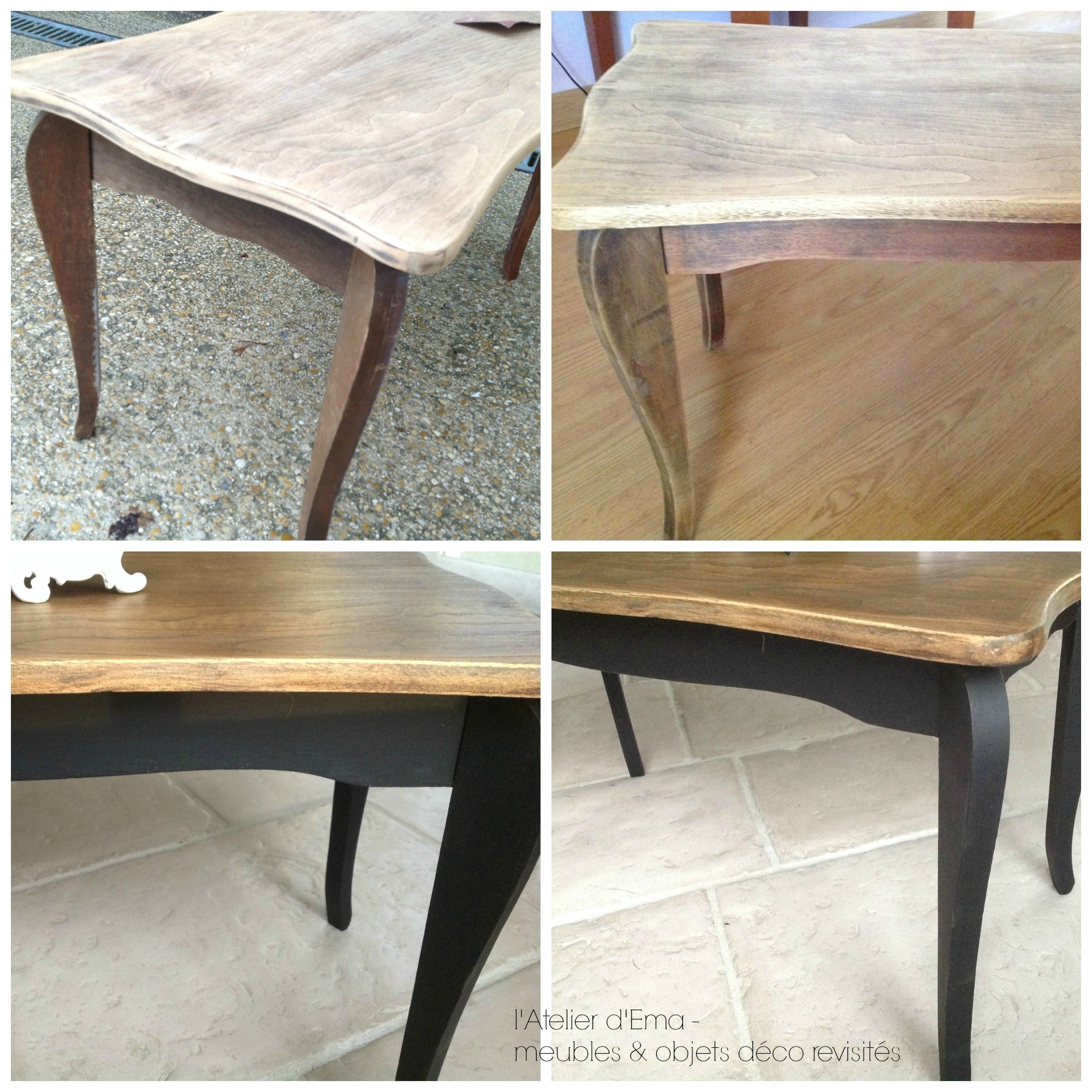 Table basse en bois patinee noir bois naturel - Table basse en bois naturel ...