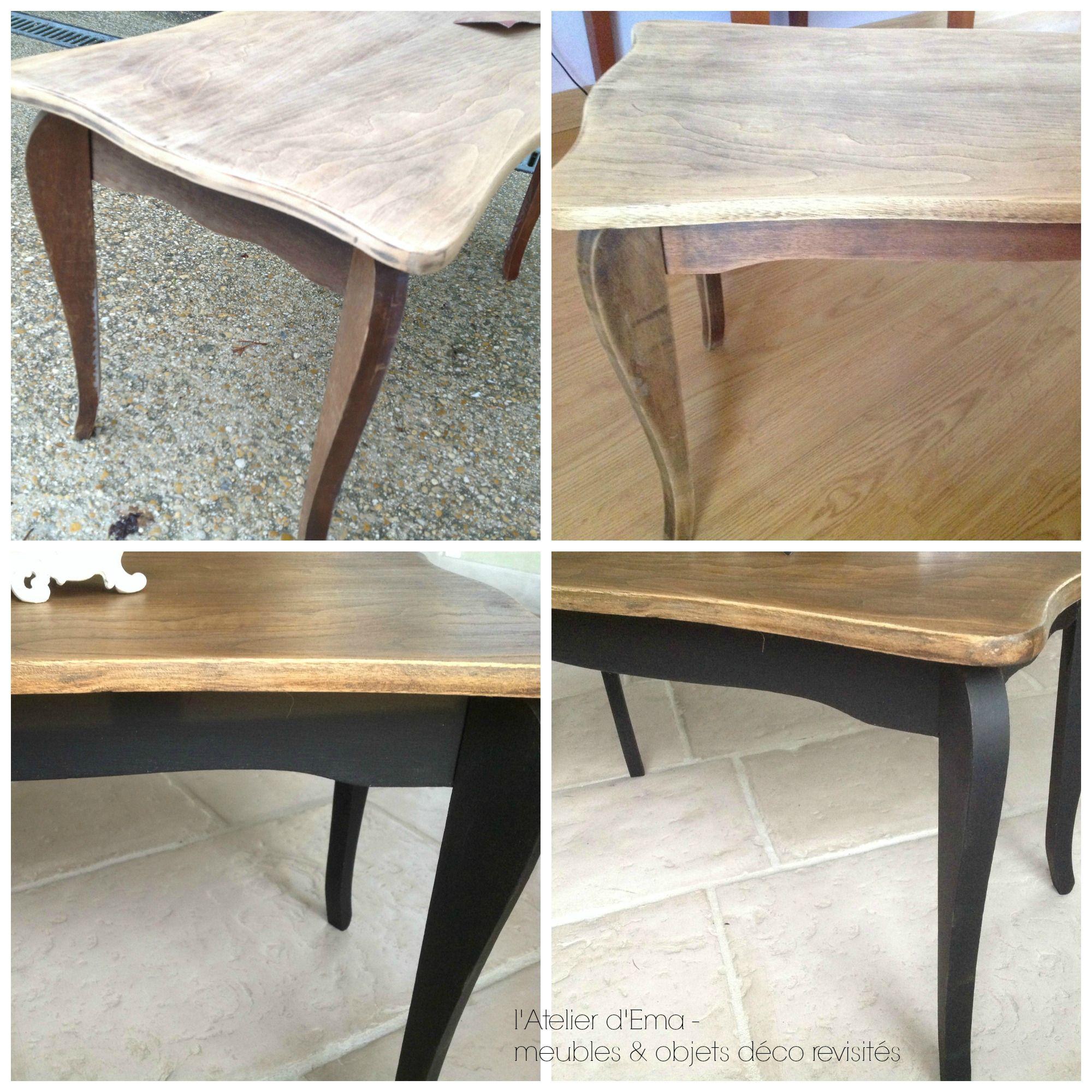 Table Basse En Bois Patinee Noir Bois Naturel Latelierdema  # Mode De Table De Basse