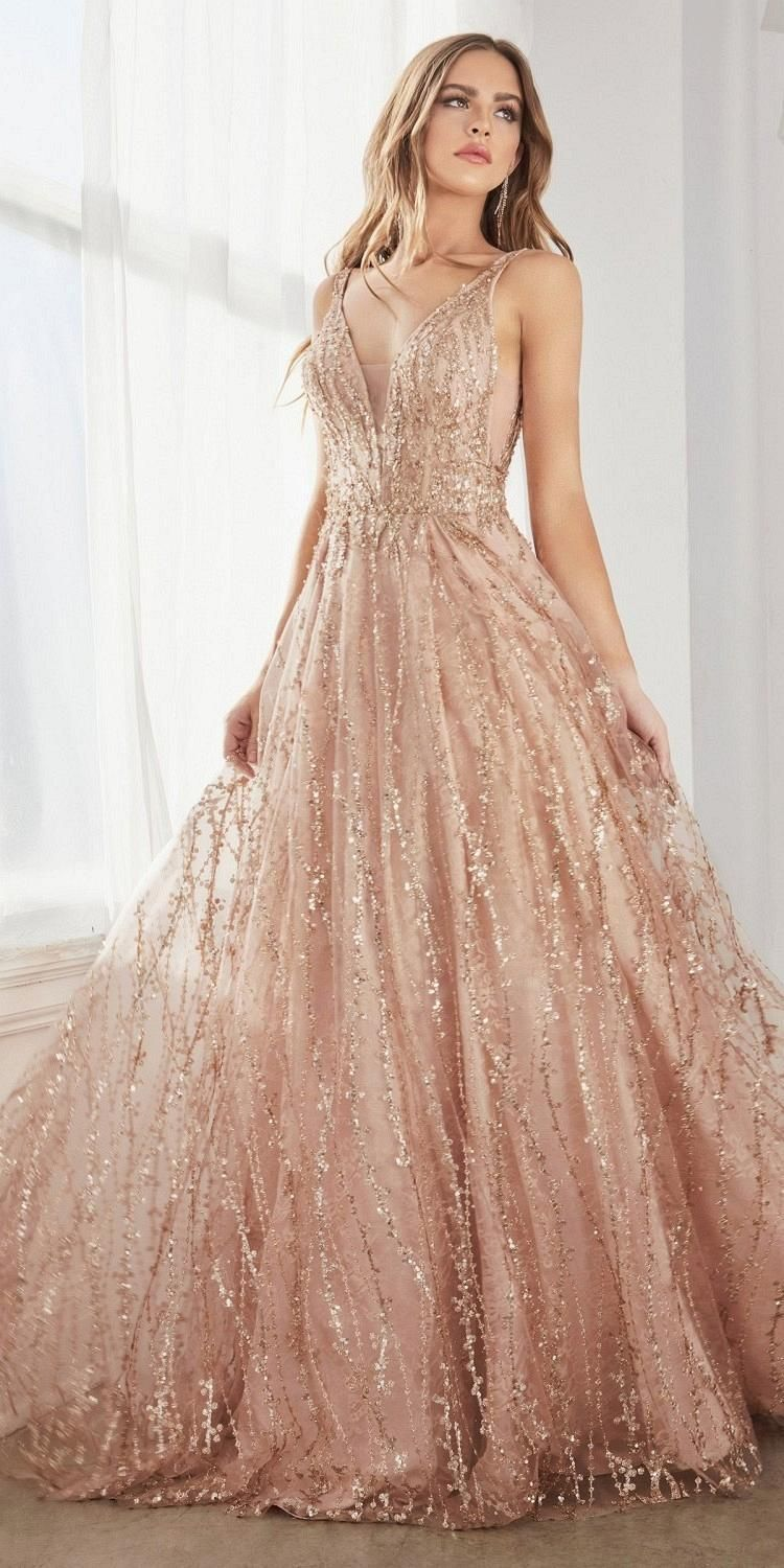 Cinderella Divine C32 Long A Line Ball Gown Rose Gold Layered Tulle Glitter Lace Print Discountdressshop Rose Gold Prom Dress Gold Prom Dresses Ball Dresses [ 1500 x 750 Pixel ]