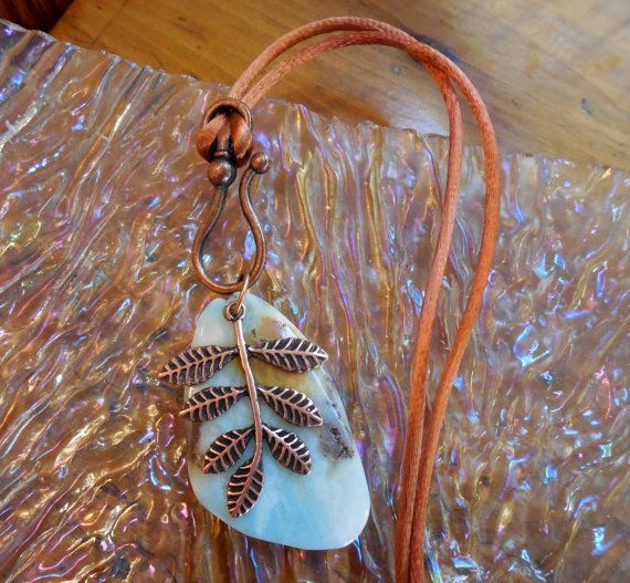 Summer Sky Leaf Pendant  Sky Stone Amazonite & by CopperAmazon, $25.00