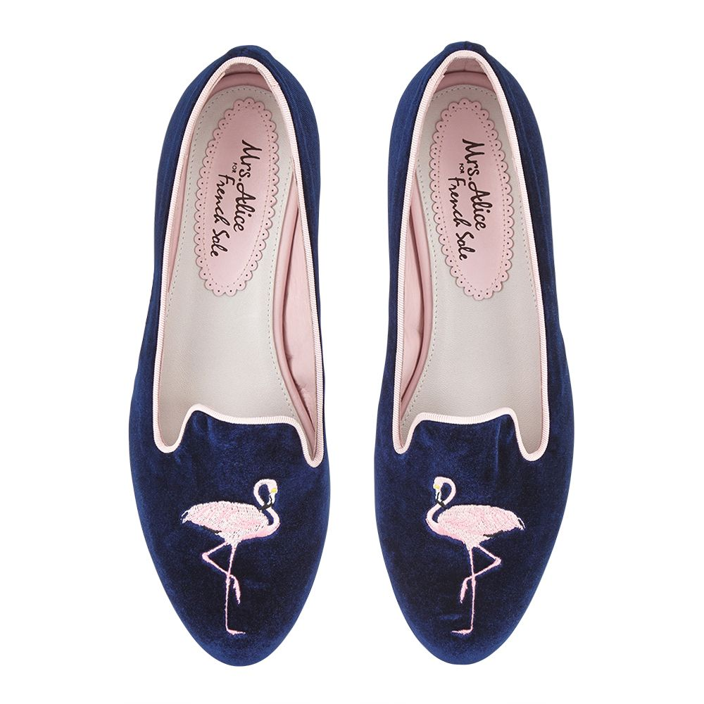 VELVET FLAMINGO Hefner in NAVY. Inspired by early 19th Century Gentlemen's Opera Shoes; a masculine trend with a decadent, luxurious feel.