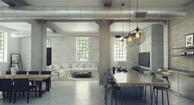 Living Room Attractive Interior Design With Open Plan Concept Decorated Industrial Theme Also Completed