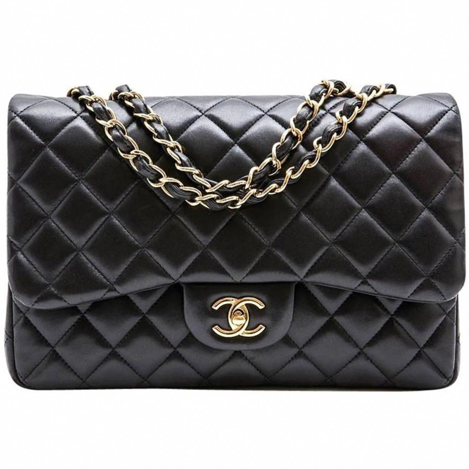abb403dd0f0c CHANEL  Jumbo  Bag in Black Quilted Smooth Lamb Leather For Sale at 1stdibs