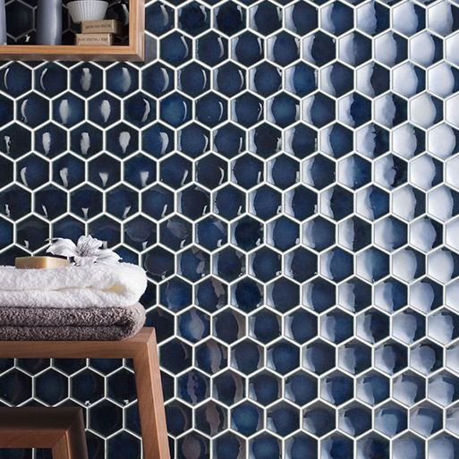 Dark Blue Hexagon Tile With Thin White Grout Lines Make A