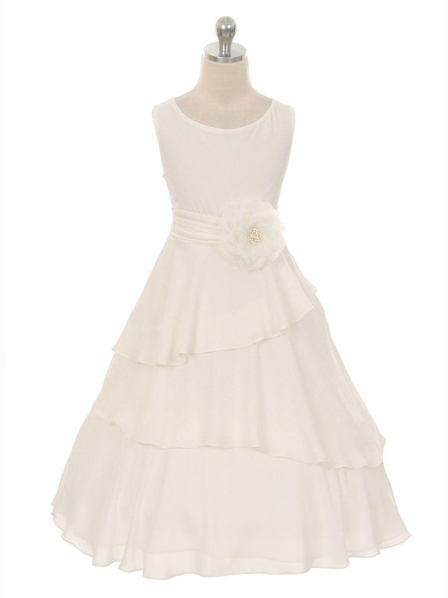Ivory Layered Chiffon Dress w/ Waistband & Flower