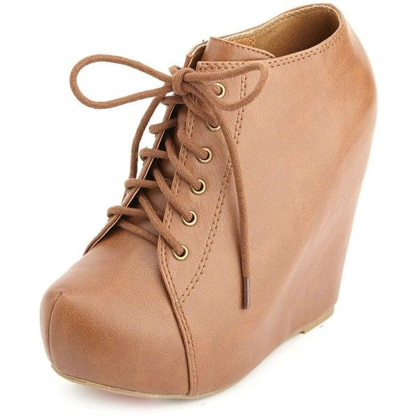 Lace-Up Platform Wedge Booties (52 BRL) ❤ liked on Polyvore featuring shoes, boots, ankle booties, zapatos, heels, cognac, lace up wedge bootie, heeled ankle boots, wedge heel booties and lace up platform wedge bootie