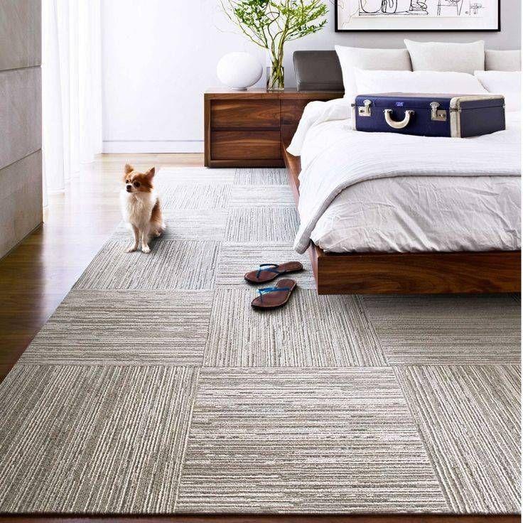 How To Hide Bad Rental Floors 9 Ways To Hide Rental Floors Domino Carpet Tiles Carpet Tiles Bedroom Textured Carpet