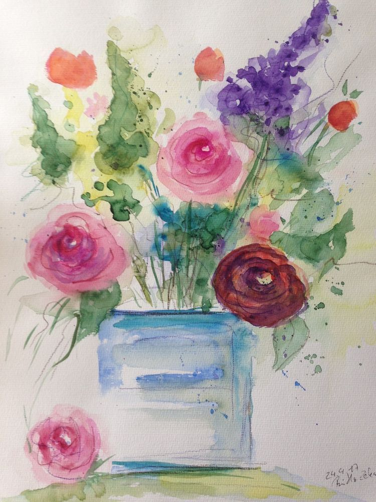 aquarell blumen blumen in der vase 30 x 40 cm. Black Bedroom Furniture Sets. Home Design Ideas