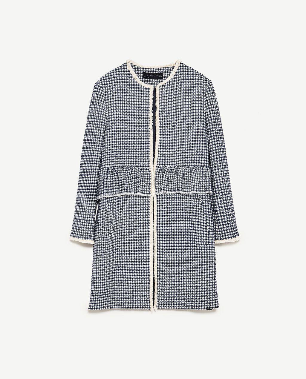 MANTEL MIT VICKYKAROS UND VOLANT von Zara | Tweed mantel