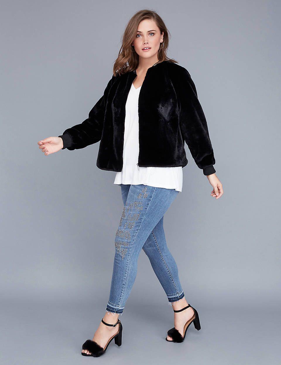 8f468604d3e Fast Lane Faux Fur Bomber Jacket with Embellished Neckline