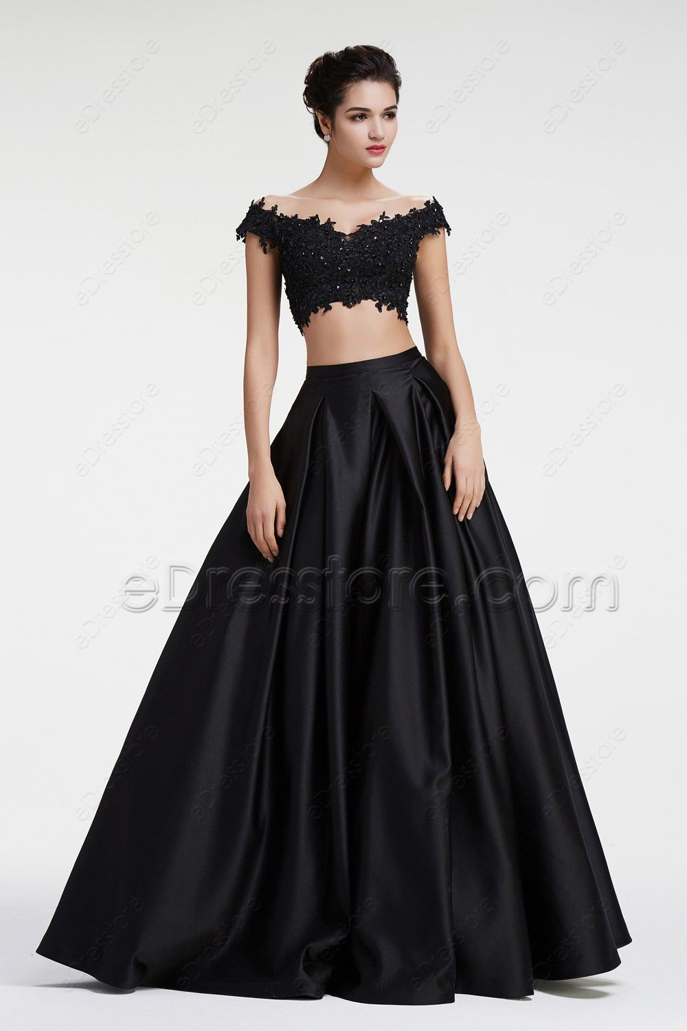 Off the shoulder sparkly beaded lace two piece prom dresses misc