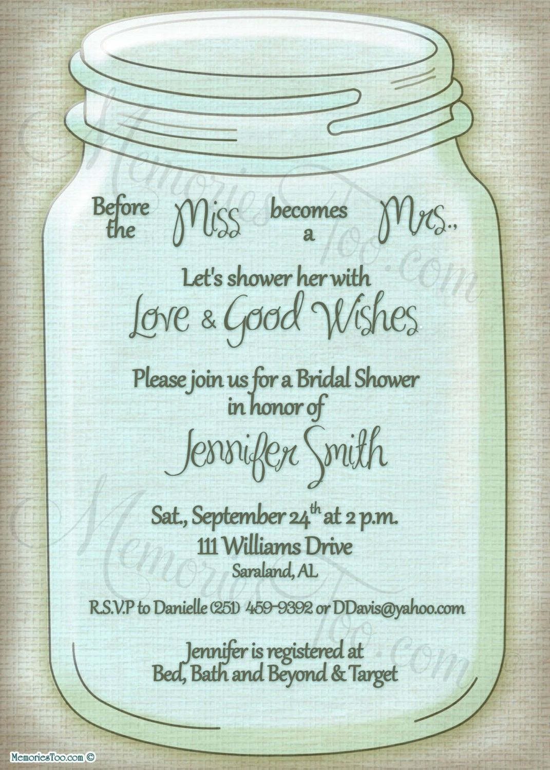 Rustic Mason Jar Wedding Invitation or Shower Invitation Print