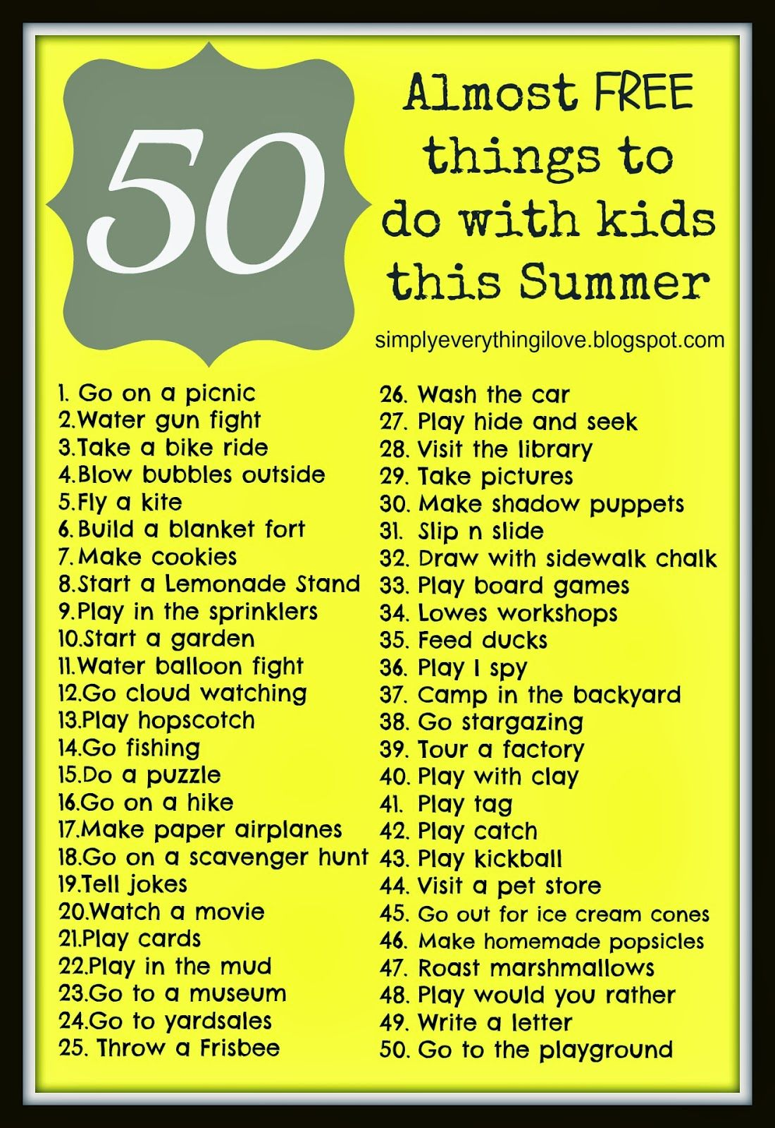 50 almost free things to do with kids this summer free printable kids pinterest free. Black Bedroom Furniture Sets. Home Design Ideas