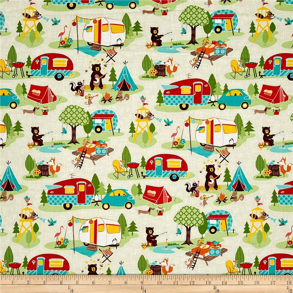 Riley Blake Road Trip Main Cream From Fabricdotcom Designed By Kelly Panacci For Riley Blake Designs This Cotton Print Co Camping Fabric Quilts Retro Fabric