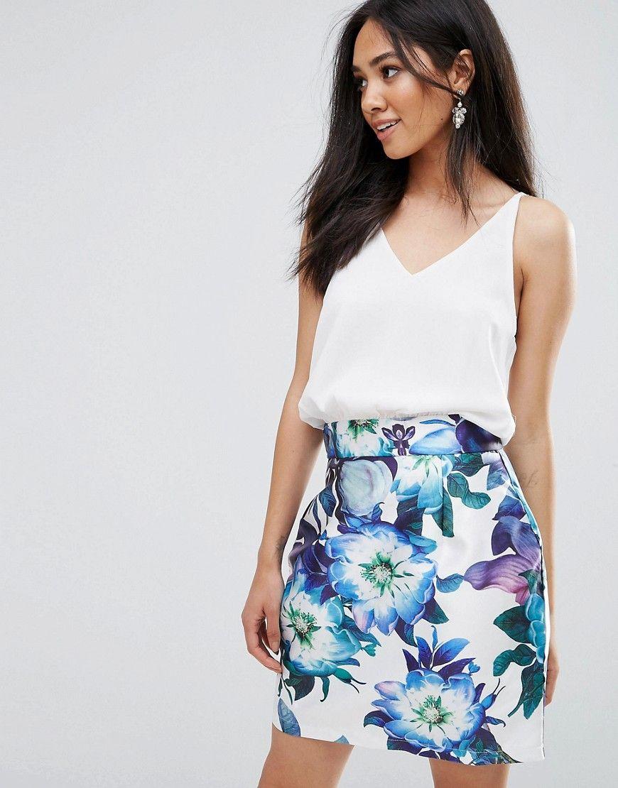 Two In One Floral Skirt Dress - Cream AX PARIS Sale Largest Supplier TBz7VxL1xl