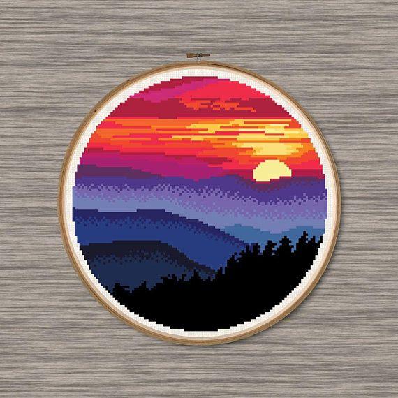 Photo of Pink and Blue Mountain Sunset  – PDF Cross Stitch Pattern