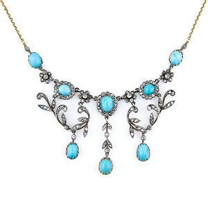 Aesthetic Period 1885-1901 - Antique Jewelry University - Late Victorian Turquoise and Diamond Necklace, Circa 1890. Photo Courtesy of Lang Antiques.