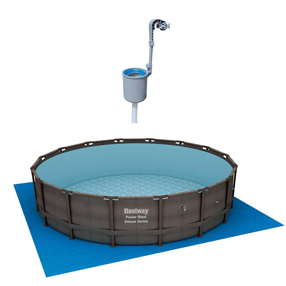 Bestway 16 Ft Round 48 In D Power Steel Framed Hard Side Pool Set And Surface Skimmer Debris Cleaner 15125 Bw 58233e Bw The Home Depot In Ground Pools Bestway Above Ground Pool