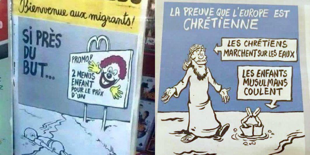 Grote verontwaardiging over cartoons Charlie Hebdo die spotten met peuter Aylan