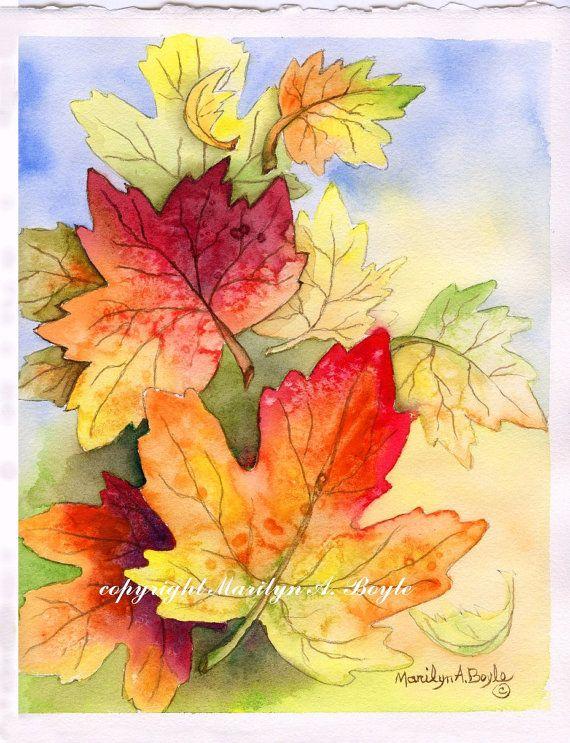 Original Watercolor Painting Art Nature Autumn By Originalsandmore Fall Watercolor Autumn Painting Learn Watercolor Painting