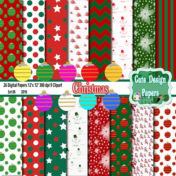 Papel Digital Navidad, Fondos Digitales para Navidad, Esferas Navideñas, rojo, verde, blanco, para kits imprimibles, invitaciones, scrap de CuteDesignPapers en Etsy