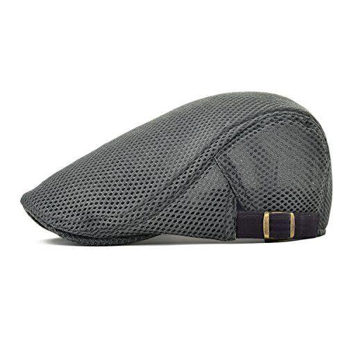 644c08689dd VOBOOM Men Breathable Mesh Summer Hat Adjustable newsboy Beret IVY Cap  Cabbie Flat Cap MZ124 (Gray)