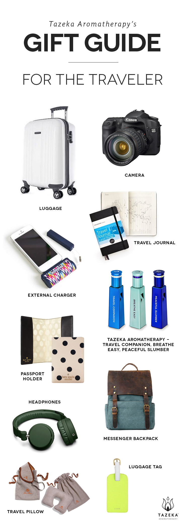 Tazeka's gift guide for the traveler in your life http://www.tazekaaromatherapy.com/