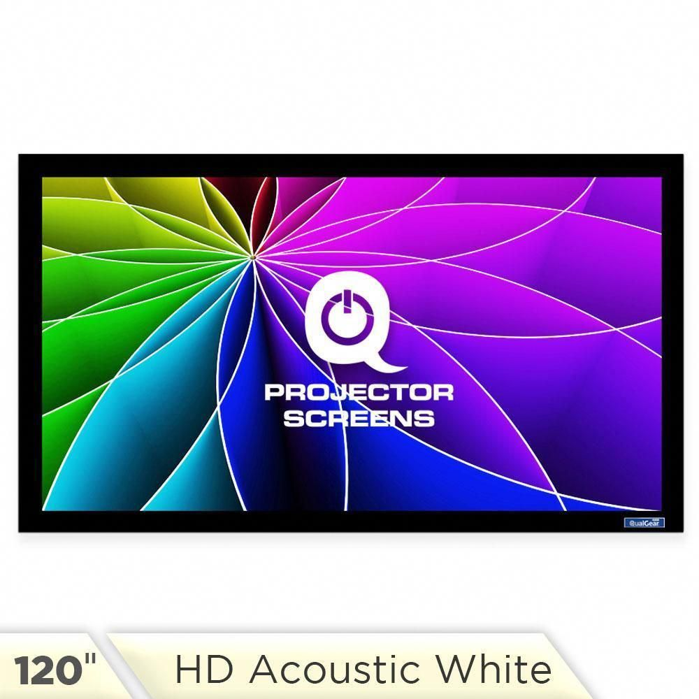 Qualgear 120 Inch Fixed Frame Projector Screen 16 9 4k Hd High Definition 1 0 Gain Acoustic White Qg Ps Ff6 169 12 Projector Screen Acoustic Fabric Projector