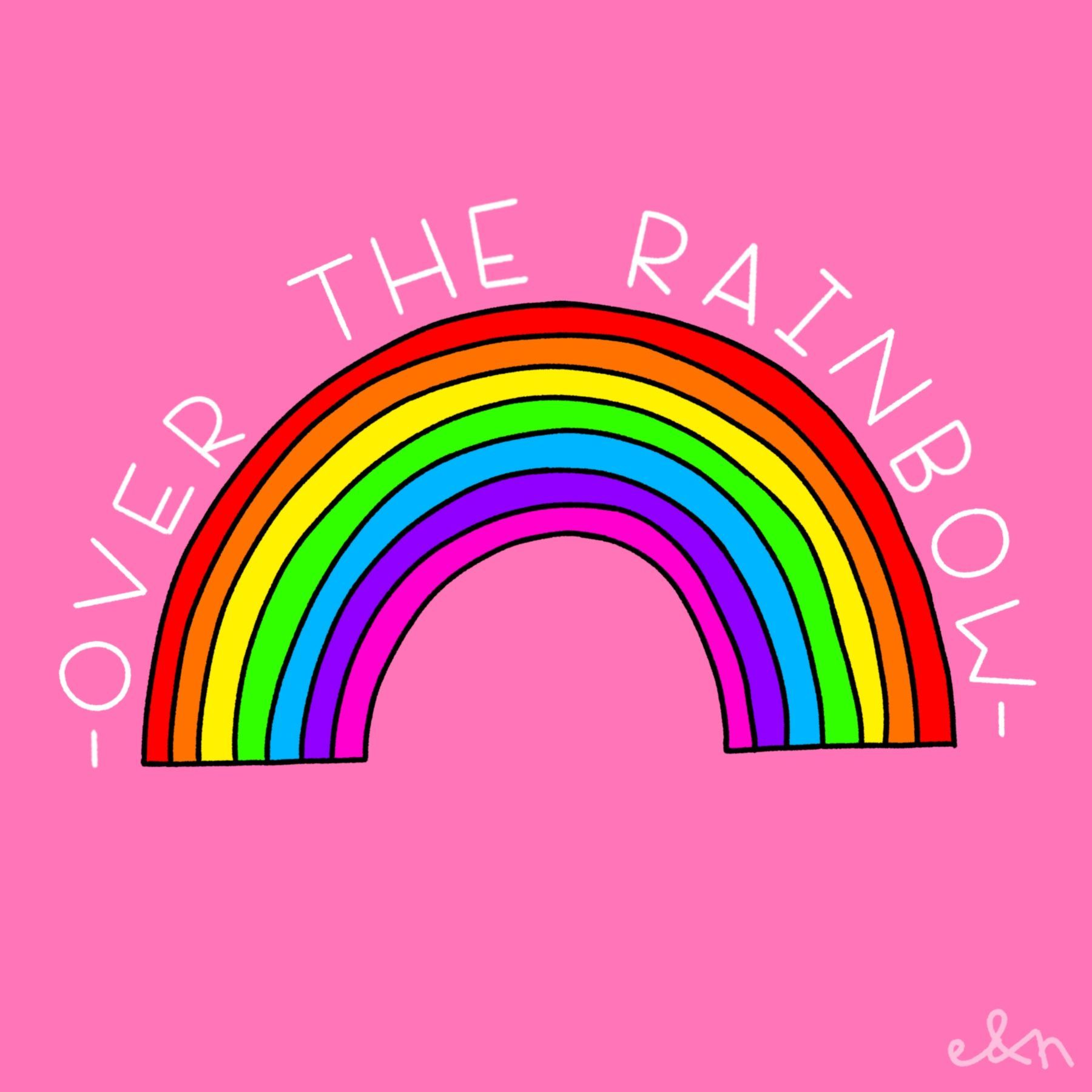 Over The Rainbow Hand Drawn With Procreate By Elsie Nell Handlettering Quotes Rainbow Lettering