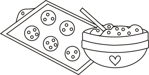 Cookie Dough In Mixing Bowl Coloring Page Coloring Pages