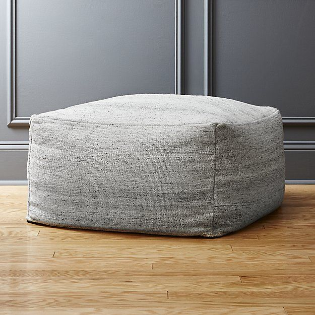 Rook Light Grey Pouf Cb2 Wool Cotton Blend Polystyrene Bead