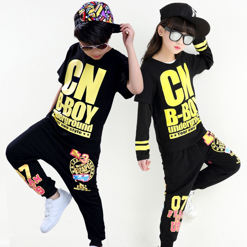 aa249928f Free Shipping Hiphop Dance Costume for Kids Boys Girls Stage Ballroom  Children Jazz Clothes Hip Hop