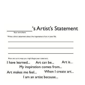 Creating Artist Statements Artist Statement Art Lessons