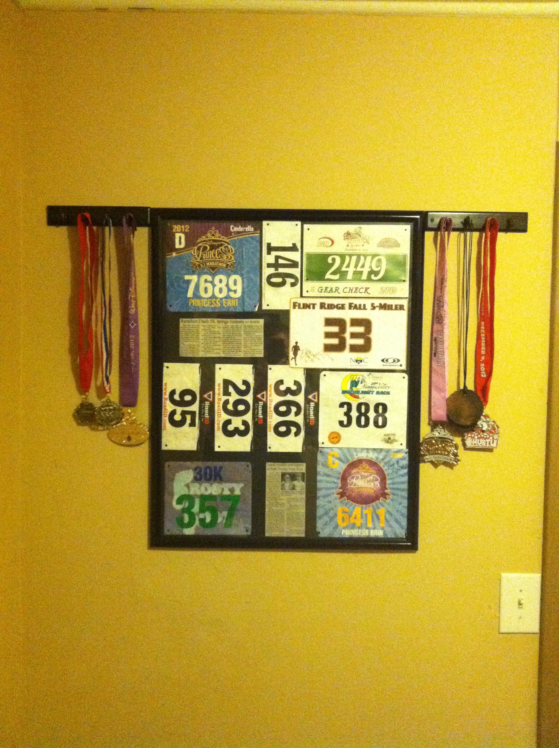 Inexpensive way to display race bibs and medals using poster frame ...