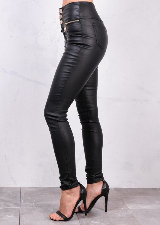 new release superior quality clearance prices High Waisted Triple Button Jeans Leather Look Trousers Black ...