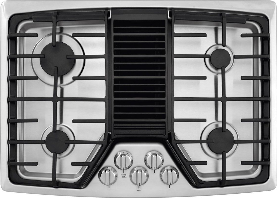 30 Inch 4 Burner Gas Cooktop With Built In 500 Cfm Downdraft Exhaust Pro Select Reg Controls And Continuous Grates Gas Cooktop Downdraft Cooktop Cooktop