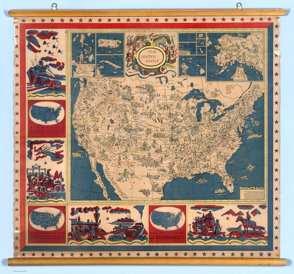 Illustrated Wall Map of the United States (1930) [7811
