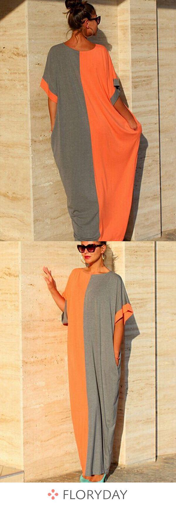Cotton color block short sleeve maxi dress fashion dress long