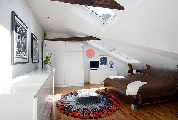 Scandinavian Two Floor Apartment Displaying Freshness And Originality Freshome Com Attic Bedroom Designs Attic Rooms Attic Remodel