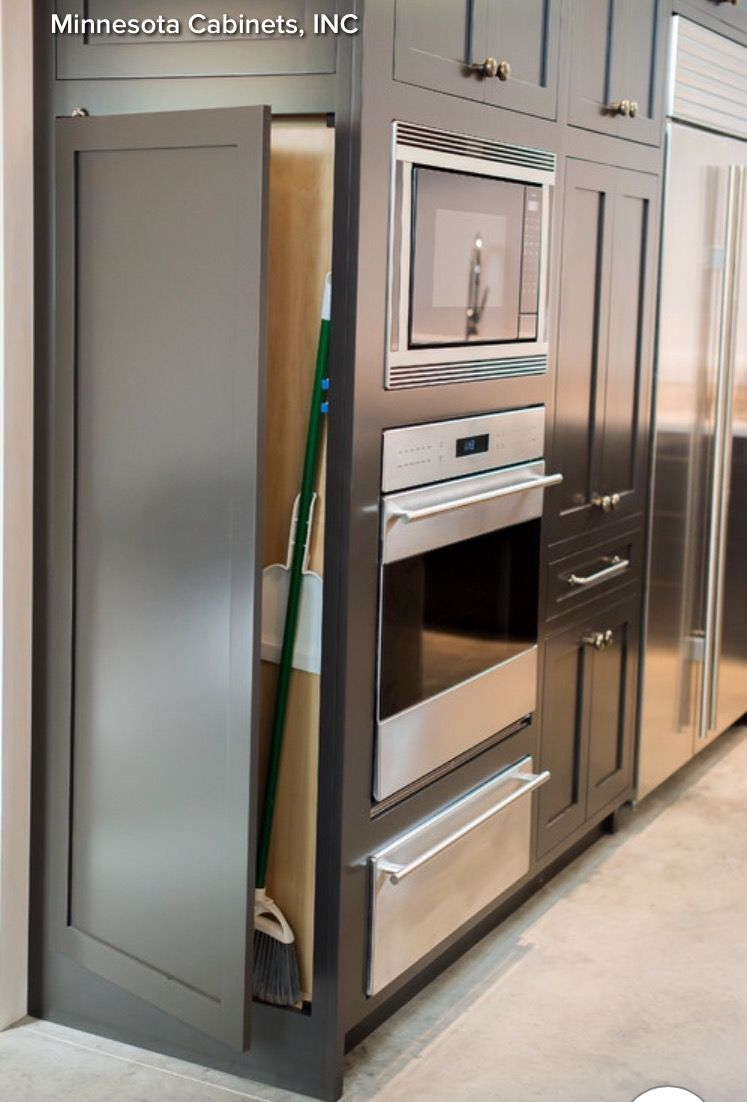 Space Saving Broom Cabinet Place Beside The Fridge Houzz Kitchen Remodel Small Hidden Kitchen Closet Kitchen